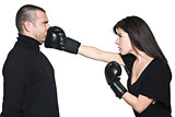 couple woman punching boxing  a man funny dispute conflict