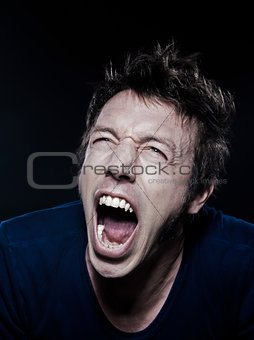 Funny Man Portrait screaming
