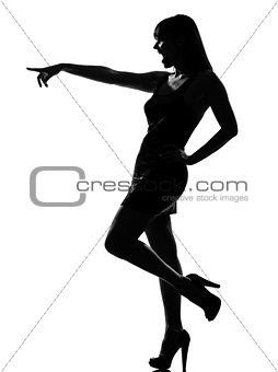 stylish silhouette woman laughing pointing