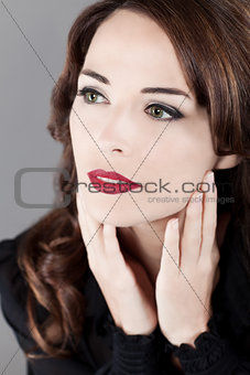 Beautiful green eyes woman looking away
