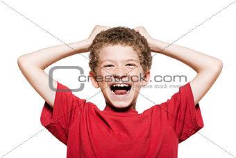 Little boy portrait laughing