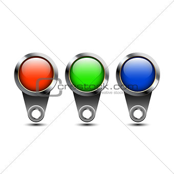 Three color buttons