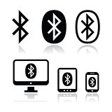 Bluetooth connection vector icons set