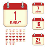 January vector calendar icons