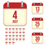 July vector calendar icons