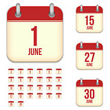June vector calendar icons