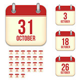 October vector calendar icons