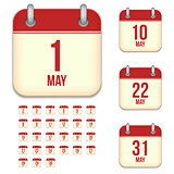 May vector calendar icons