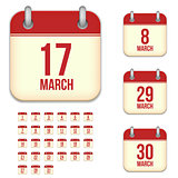 March vector calendar icons