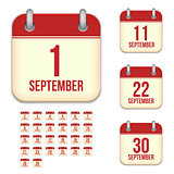 September vector calendar icons