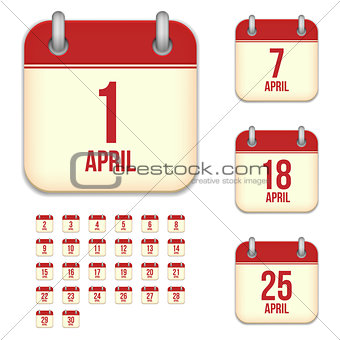 April vector calendar icons