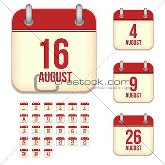 August vector calendar icons