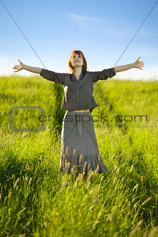 happy woman in field