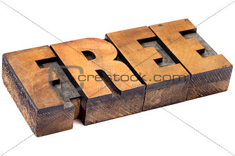 free word in wood type
