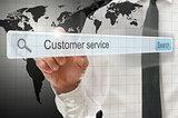 Customer service written in search bar