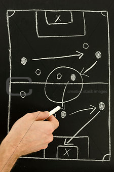 Top view of a man drawing a football game strategy