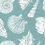 Seamless pattern with sea shells.