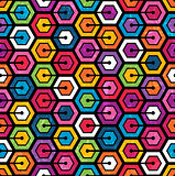 Colorful geometric pattern with hexagons.