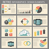 Retro vintage Infographic template business vector illustration