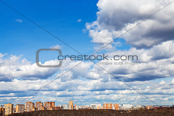 skyline with spring evening clouds