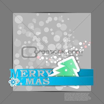 Blue Merry XMas stripes card. Eps10 vector illustration