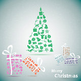 Merry Christmas tree with gifts in snow eps10 vector illustratio