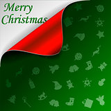Merry Christmas green background with curled red corner