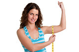 Sporty Woman Measuring Her Biceps