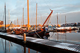 ship, yachts and boast on marina in Groningen