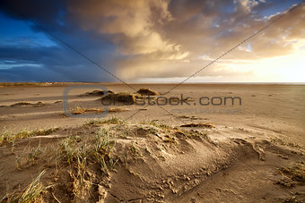 sand beach and dramatic sky