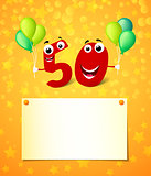 50 years greeting card with place for text