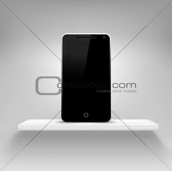 Smartphone on white shelf