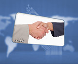 Screen with image of handshake in blue interface