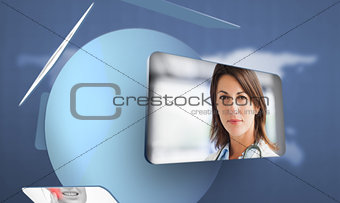 Screen displaying doctor in digital interface