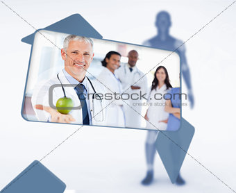 Screen displaying doctor holding apple in digital interface