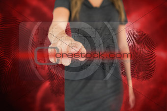 Businesswoman touching fingerprint touchscreen