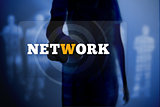 Silhouette of woman touching network button