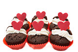Six chocolate valentines cupcakes