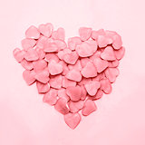 Heart made of pink candy