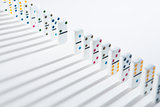 Line of dominoes with one piece missing