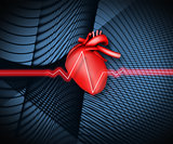 Red ECG line on black background with heart illustration
