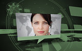 Digital speech box showing woman in headset