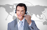 Smiling businessman wearing headset