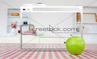 Digital internet window open on kitchen table