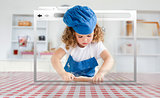 Digital internet window showing girl in cookery gear rolling pastry