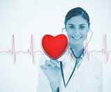 Doctor holding stethoscope up to red ECG line with heart graphic