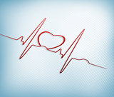 Red ECG line with heart graphic
