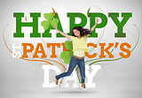 Artistic st patricks day message with jumping girl