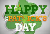 Artistic st patricks day message with large shamrock