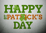 Bold st patricks day message with shamrocks